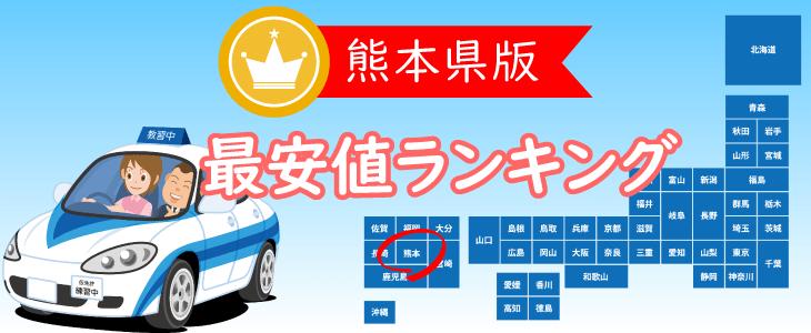 熊本県の合宿免許最安値ランキング